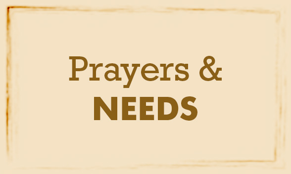 Let us know of any prayer requests or needs you have
