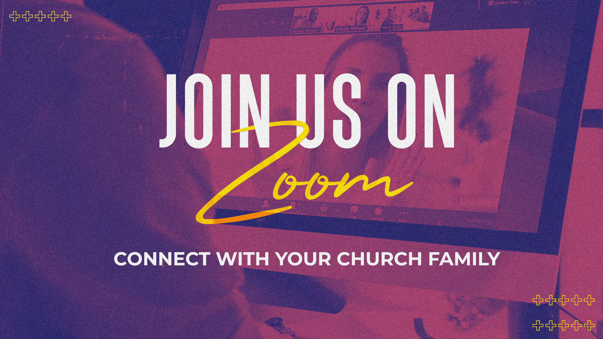 Join Us On Zoom Connect With Your Church Family Orange Script-Subtitle