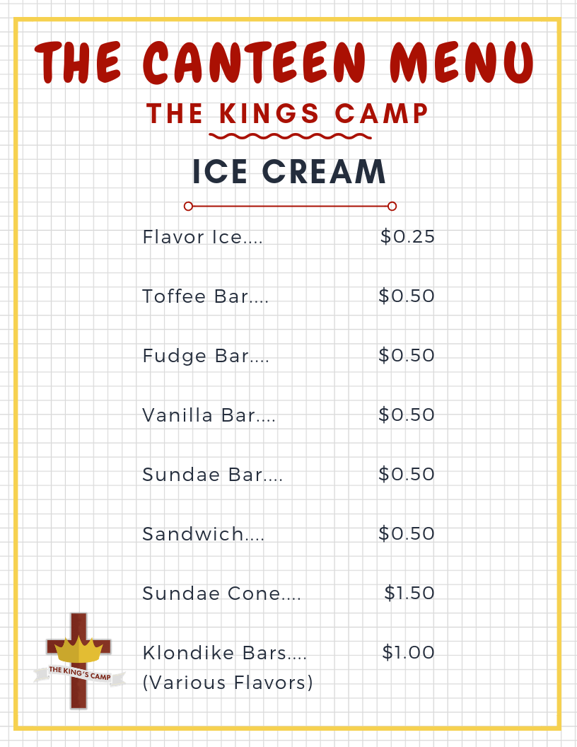 Canteen Ice Cream Menu19
