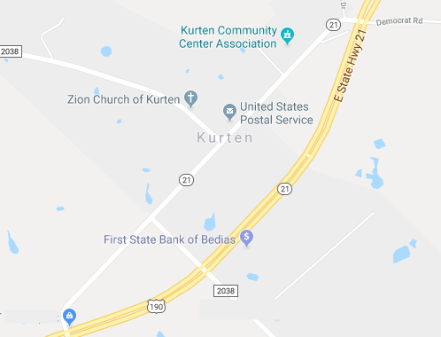 Small Map of Zion Church of Kurten location