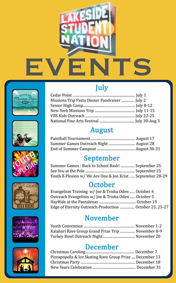 youth events july-december 2019