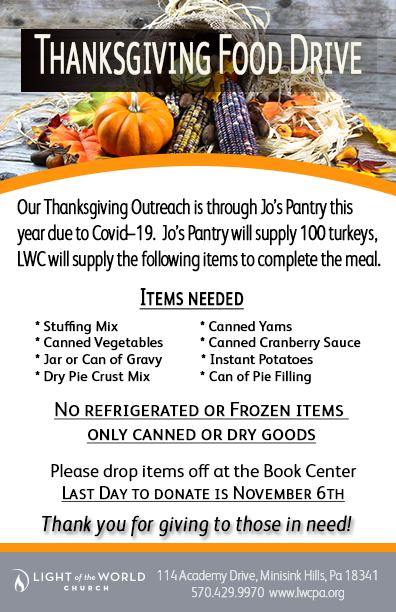 2020 Thanksgiving Food Drive flyer #2