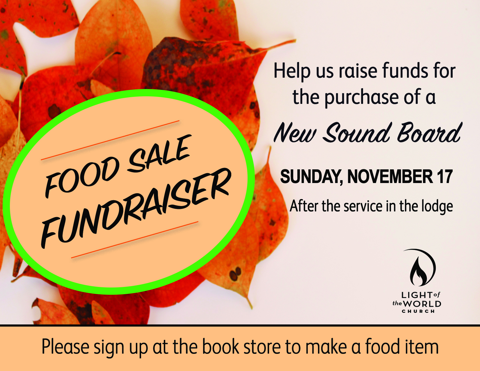 Food Fundraiser Nov 17