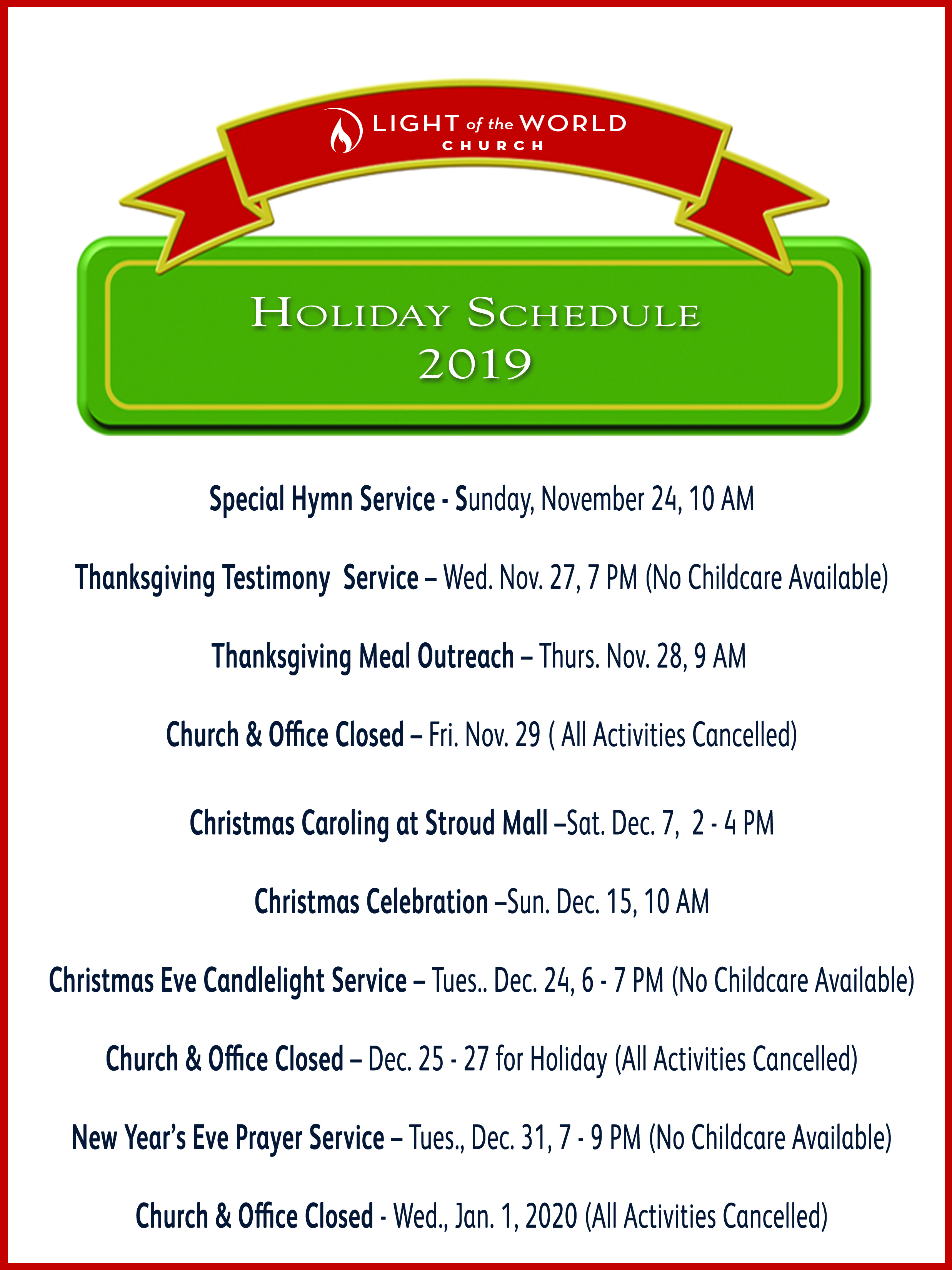 Holiday Schedule 2019 Web
