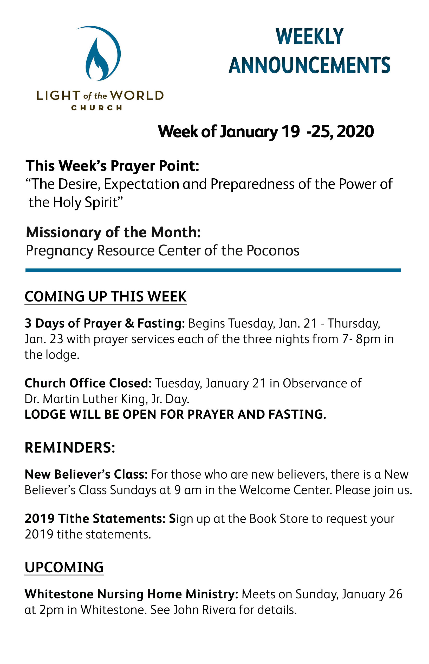 Jan 19-2020 Weekly Announcements Front for Web
