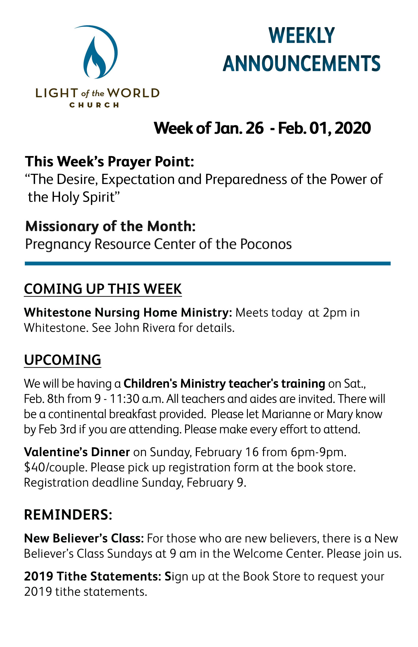 Jan 26-2020 Weekly Announcements Front for Web