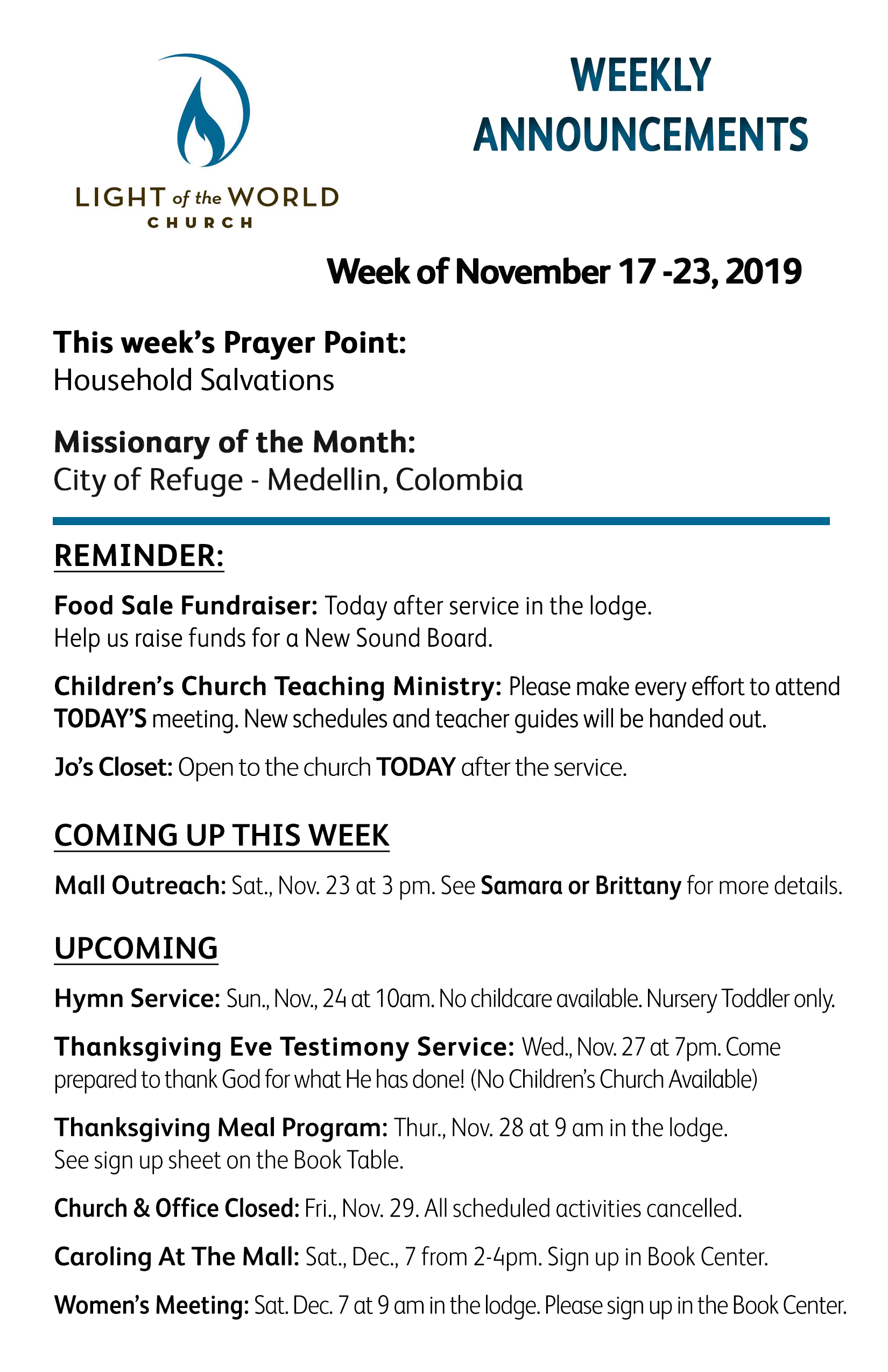 Nov. 17 Weekly Announcements Front for Web
