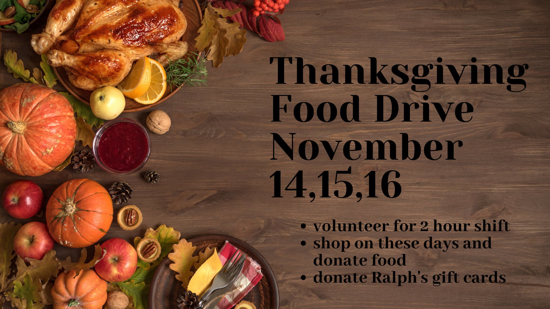 Thanksgiving Food Drive November 14,15,16 (2) image