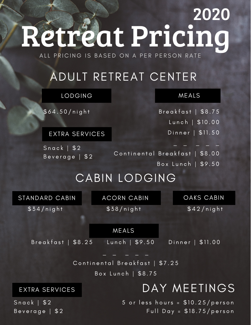 2020 Retreat Pricing