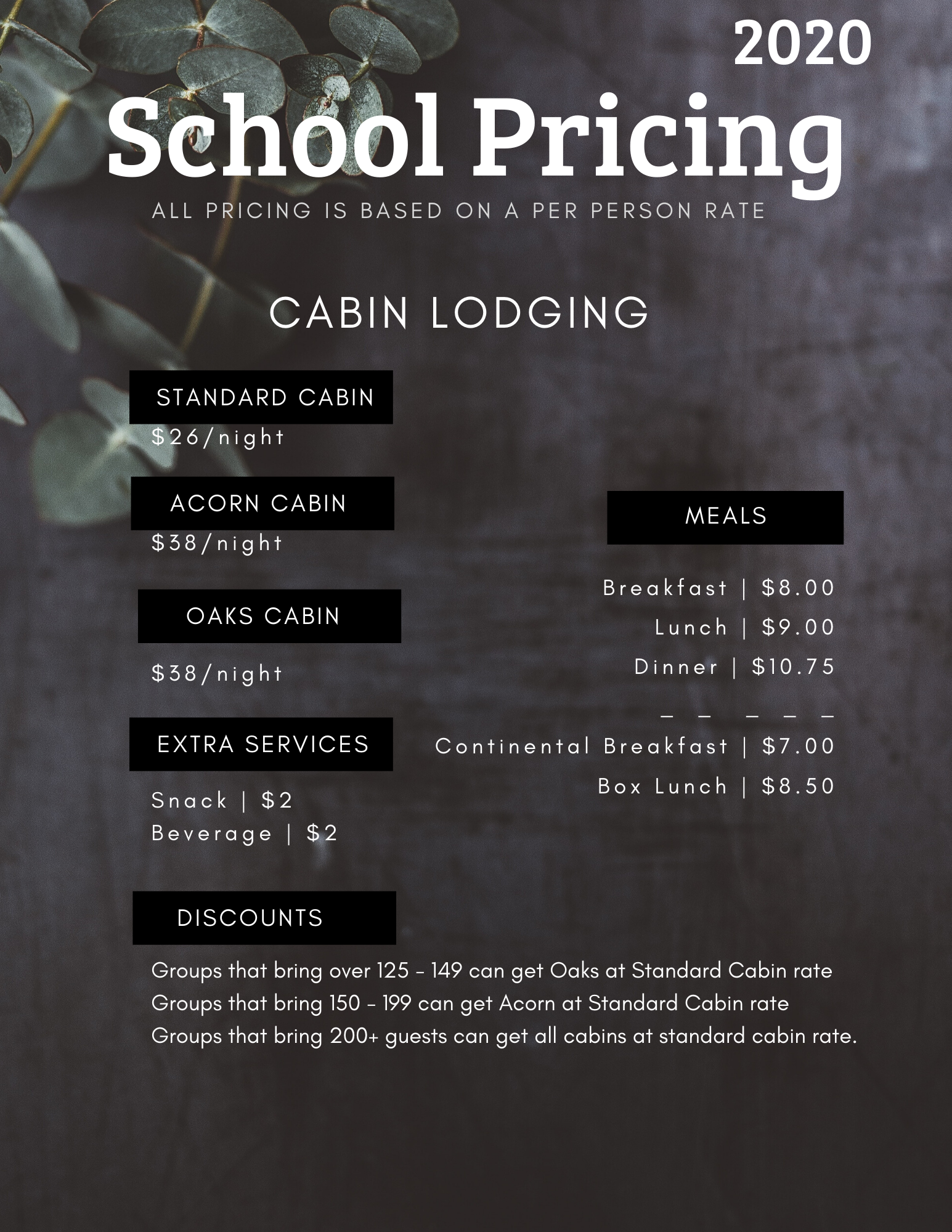 2020 SCHOOL Retreat Pricing