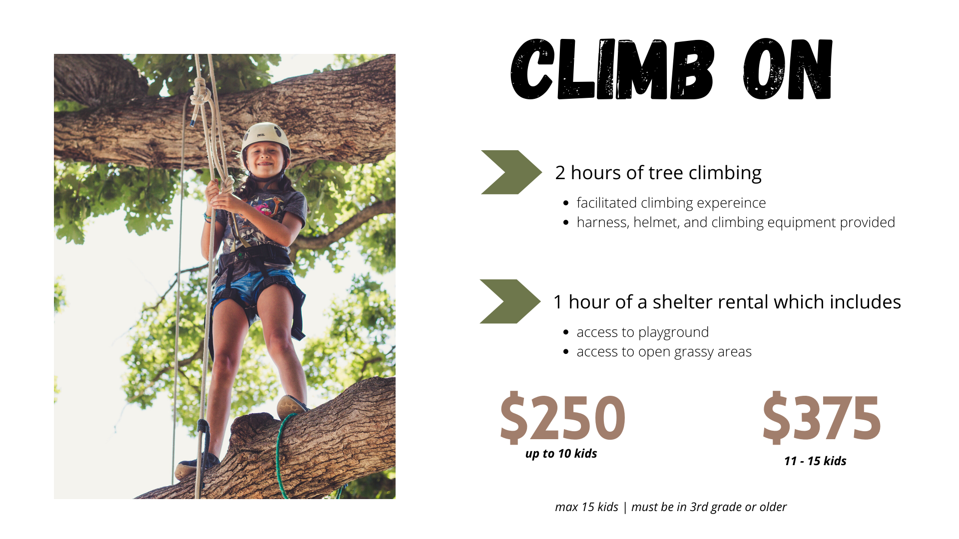 birthday party option_climb on