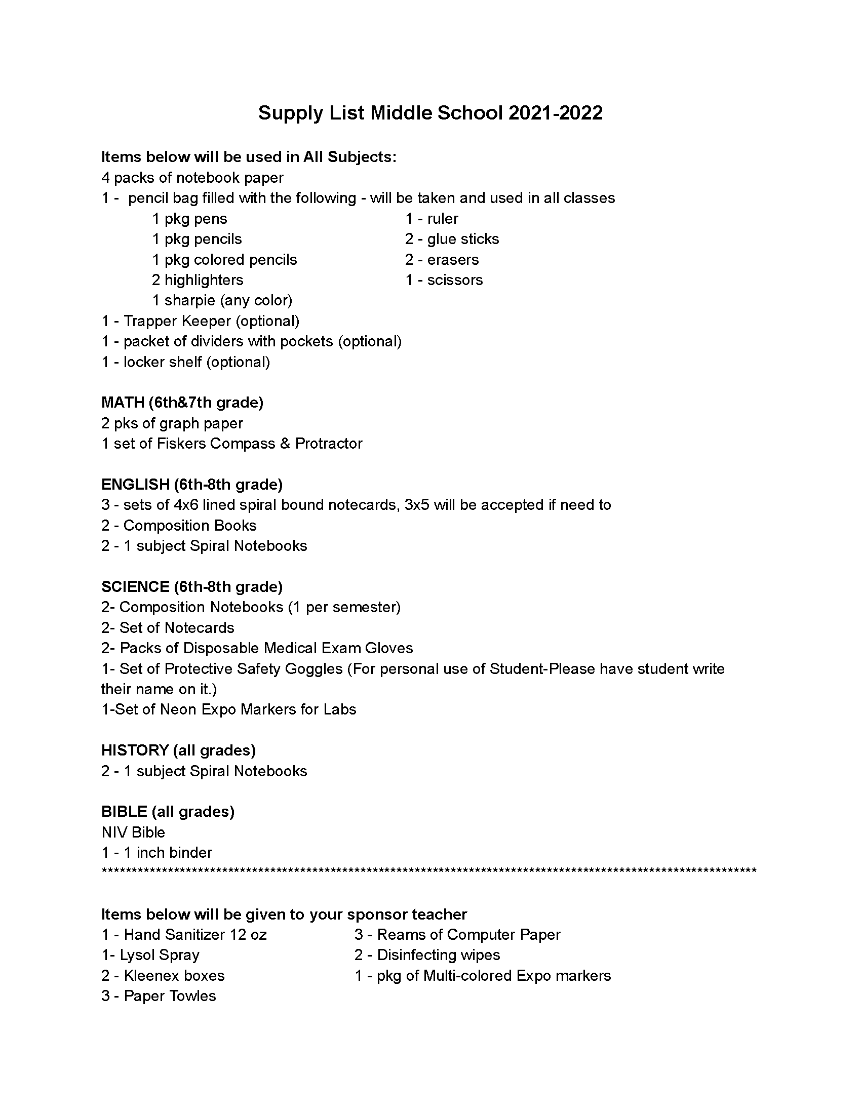 Supply List Middle School 2021-2022
