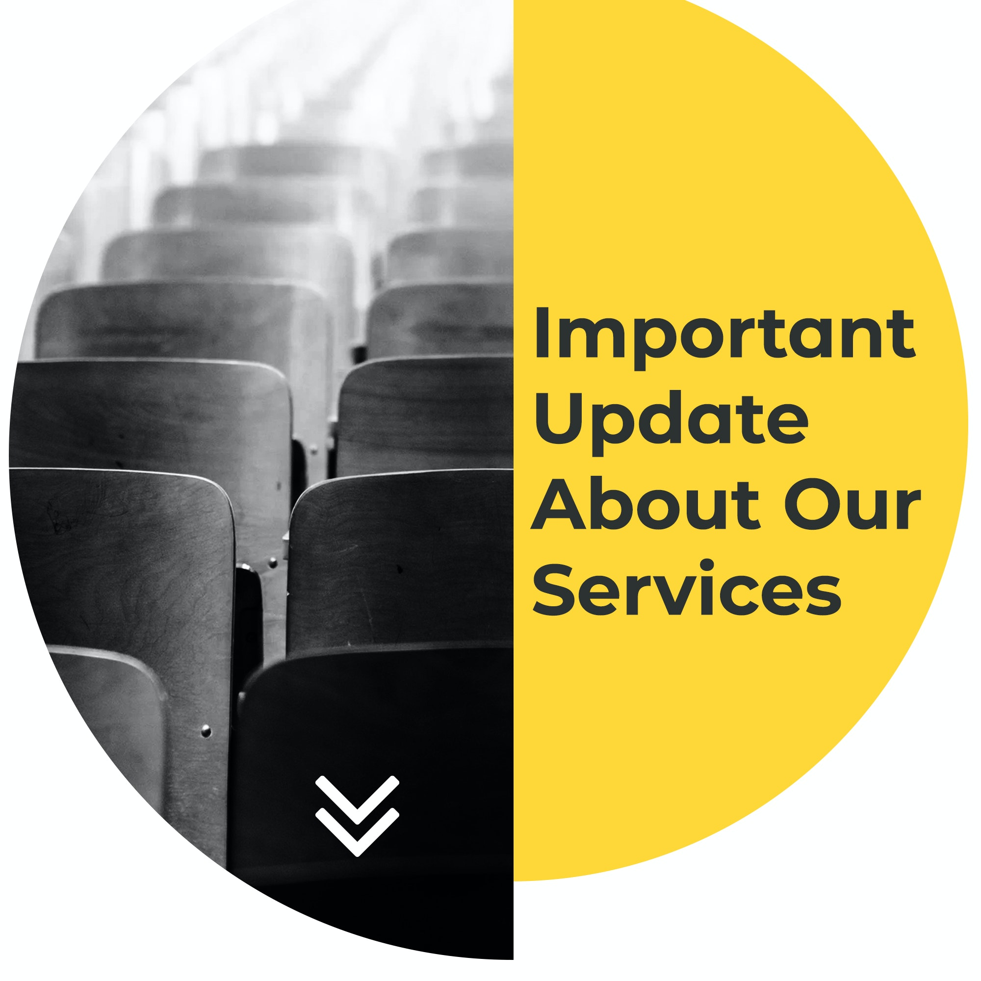 Important Update About Our Services Modern Yellow Circles - Title