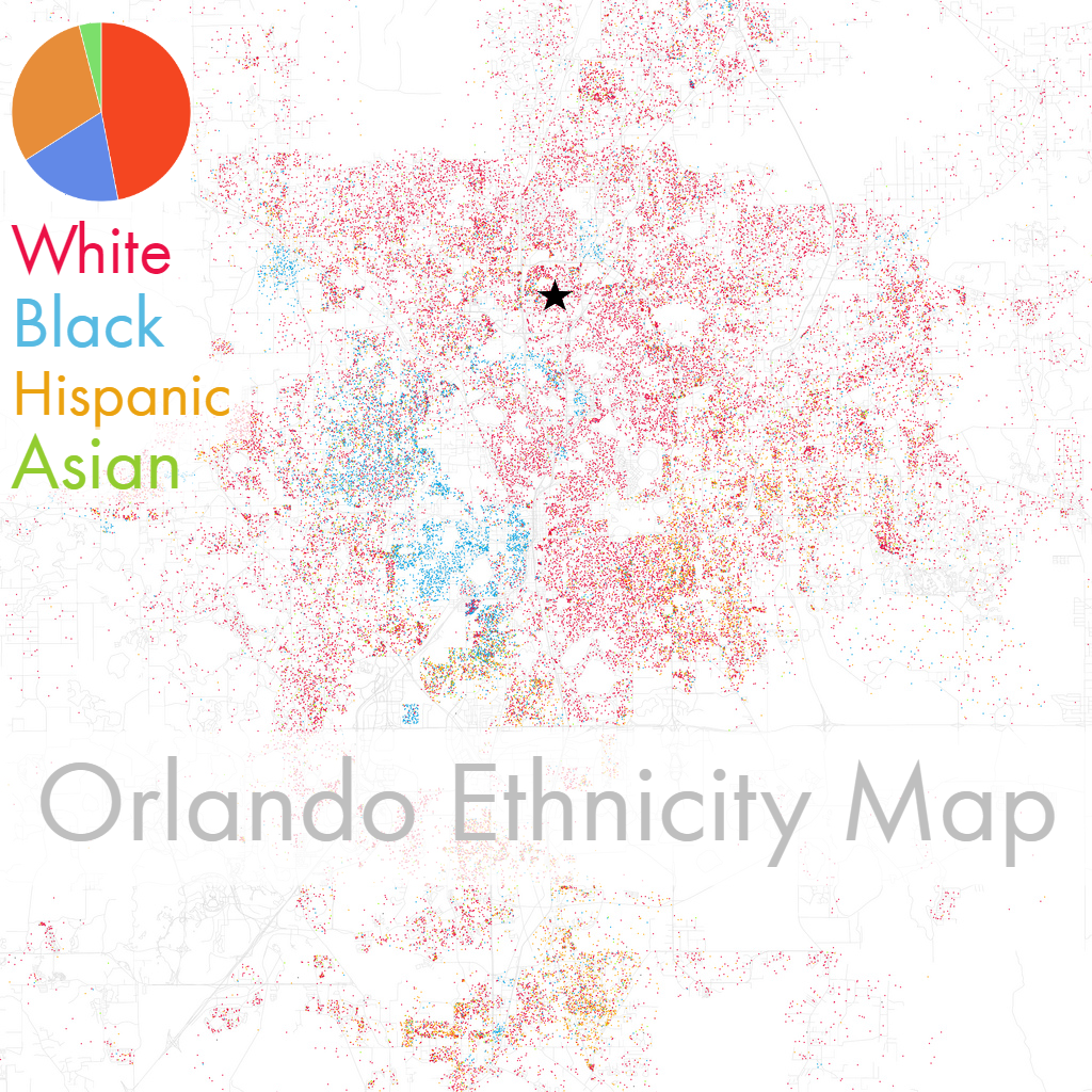 Orlando Ethnicity Map with Star and Percentages