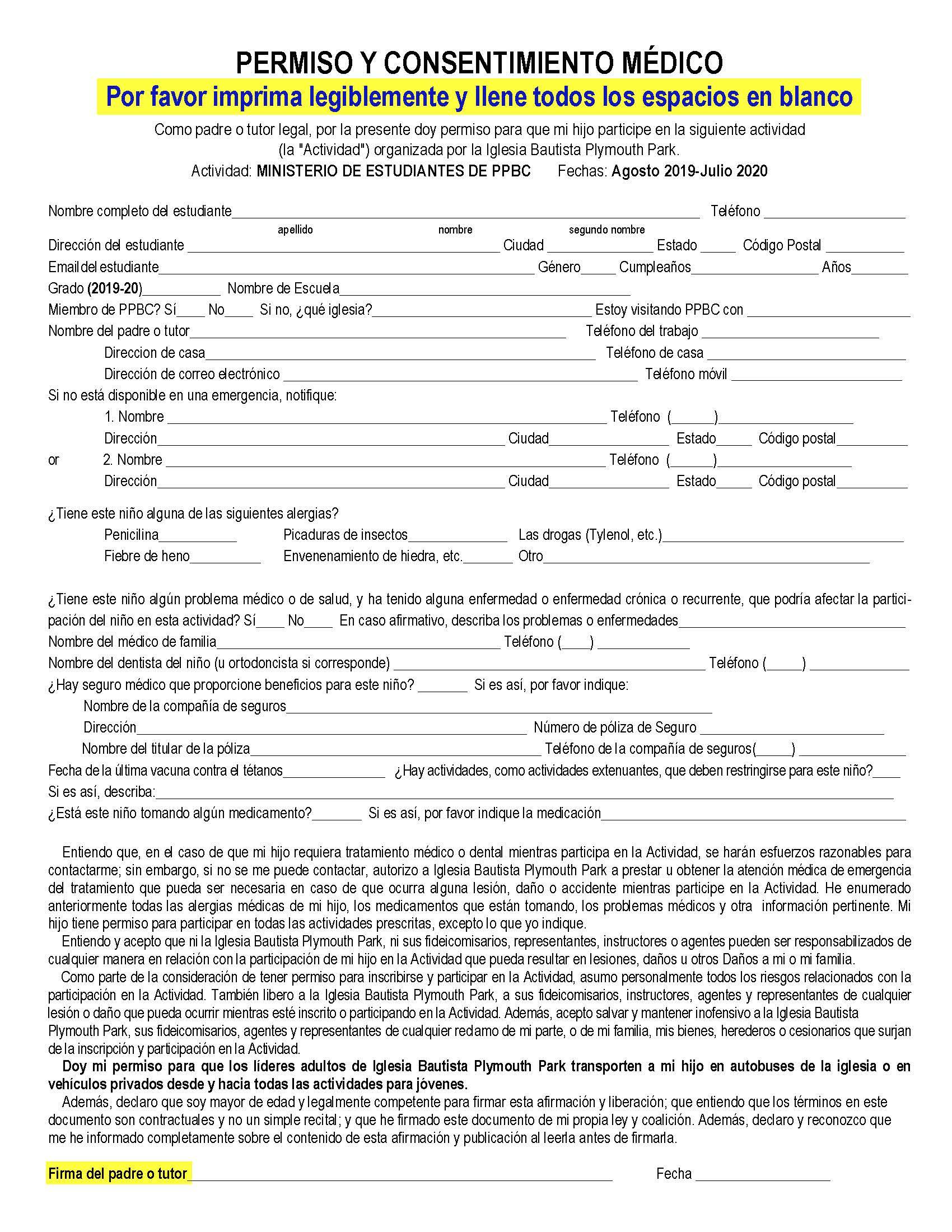 2019-20 Medical Release Form Bilingual_Page_2
