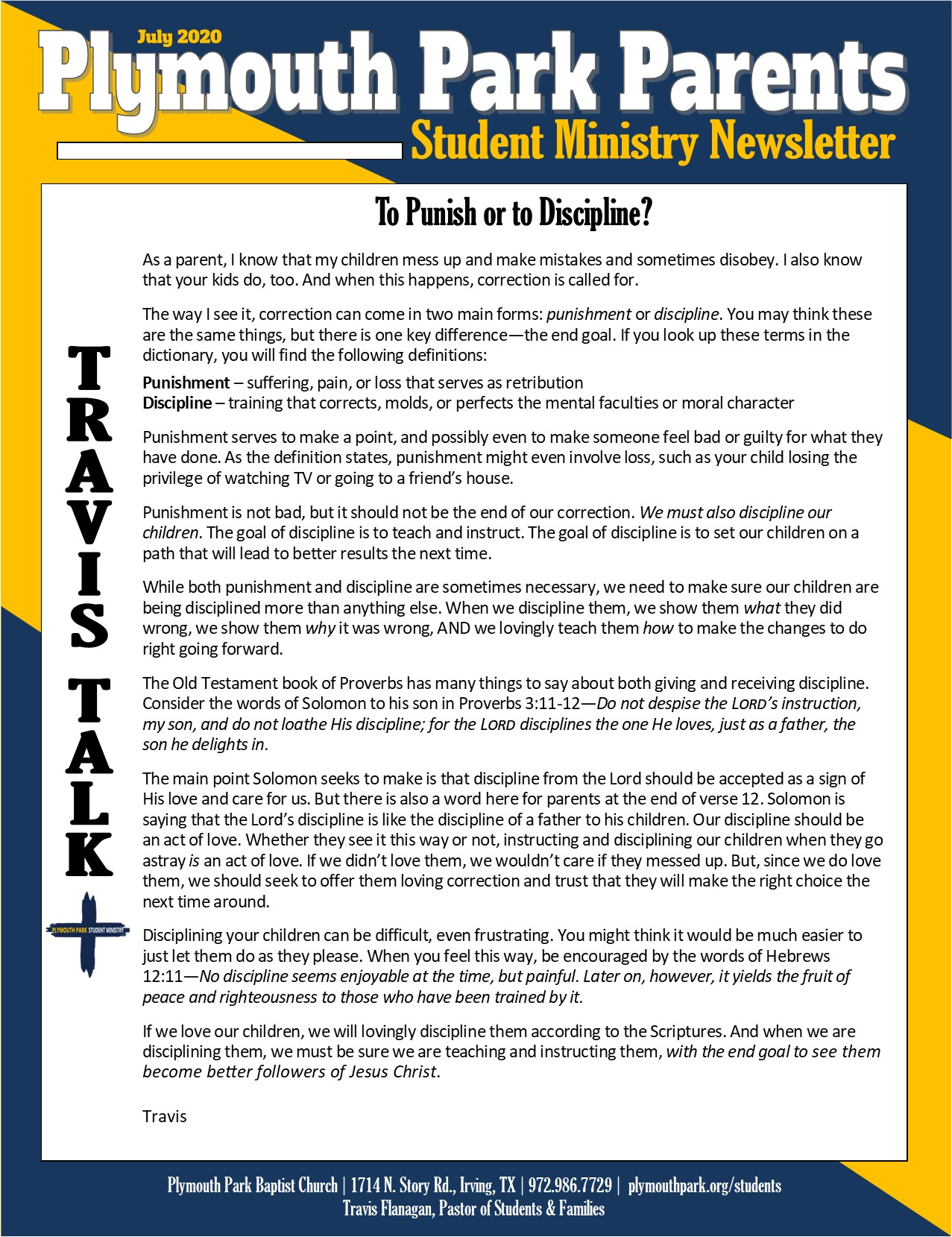 July Parent Newsletter Page 1