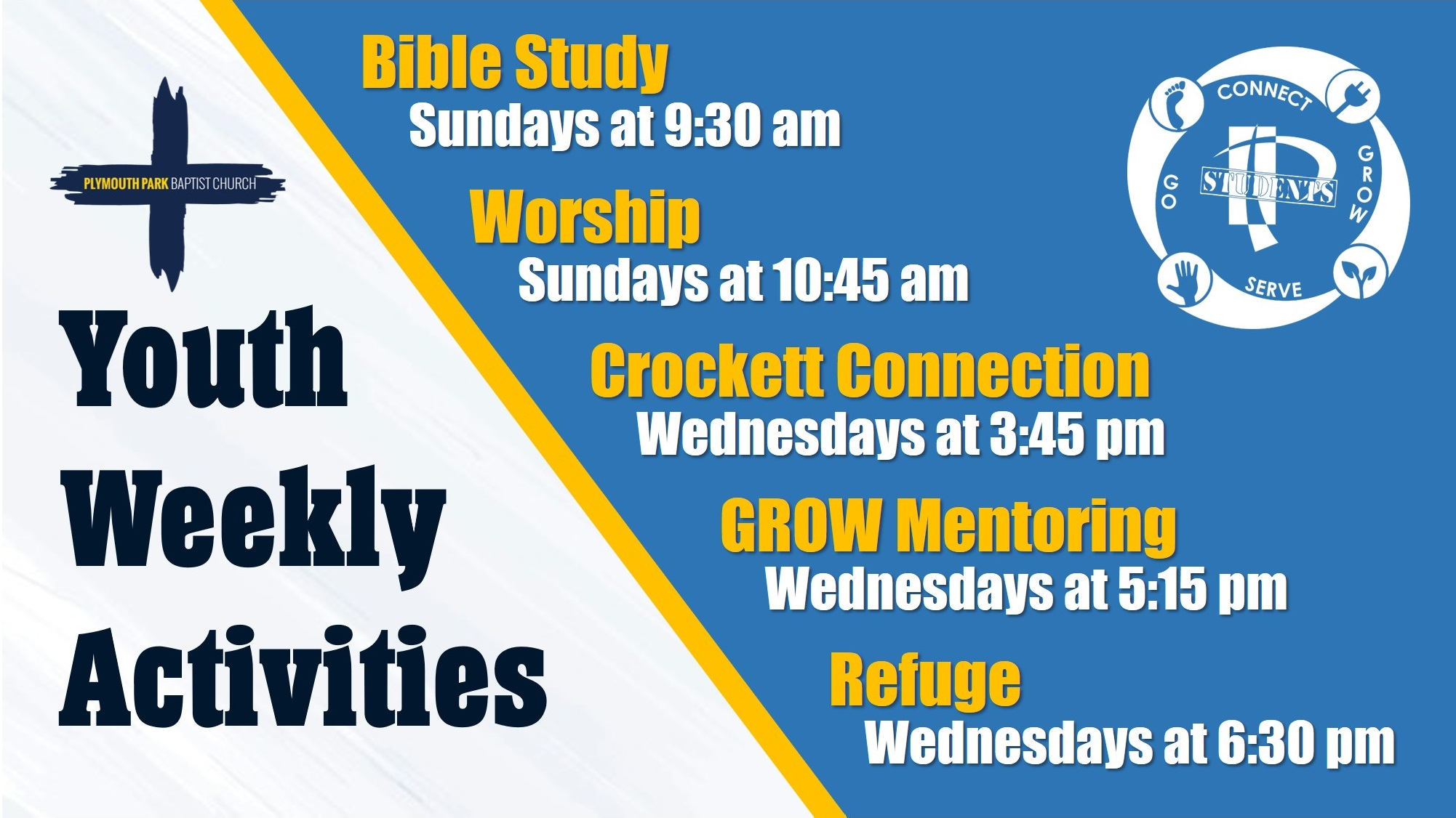 Youth Weekly Activities NEW