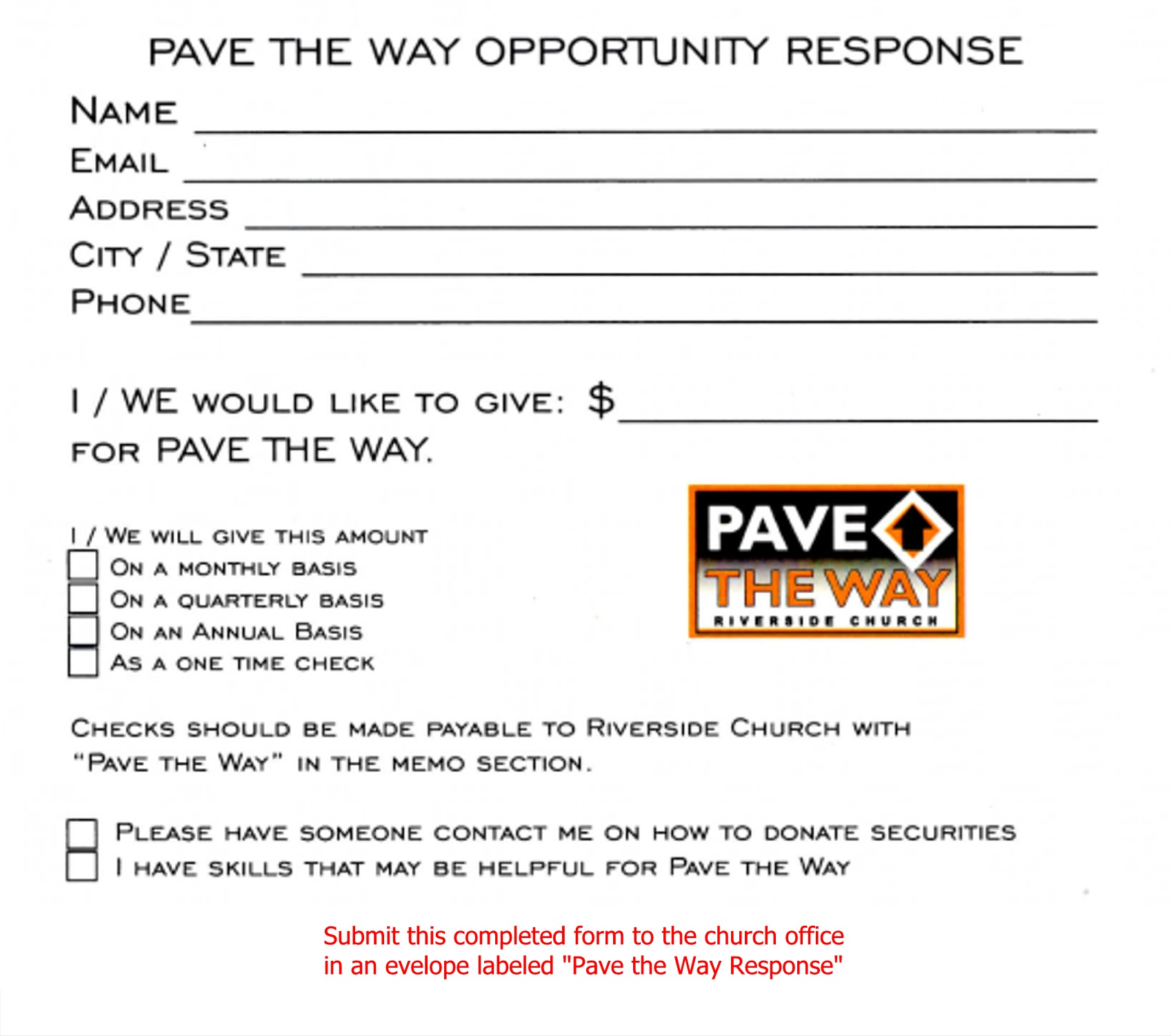 PTW Opportunity Response