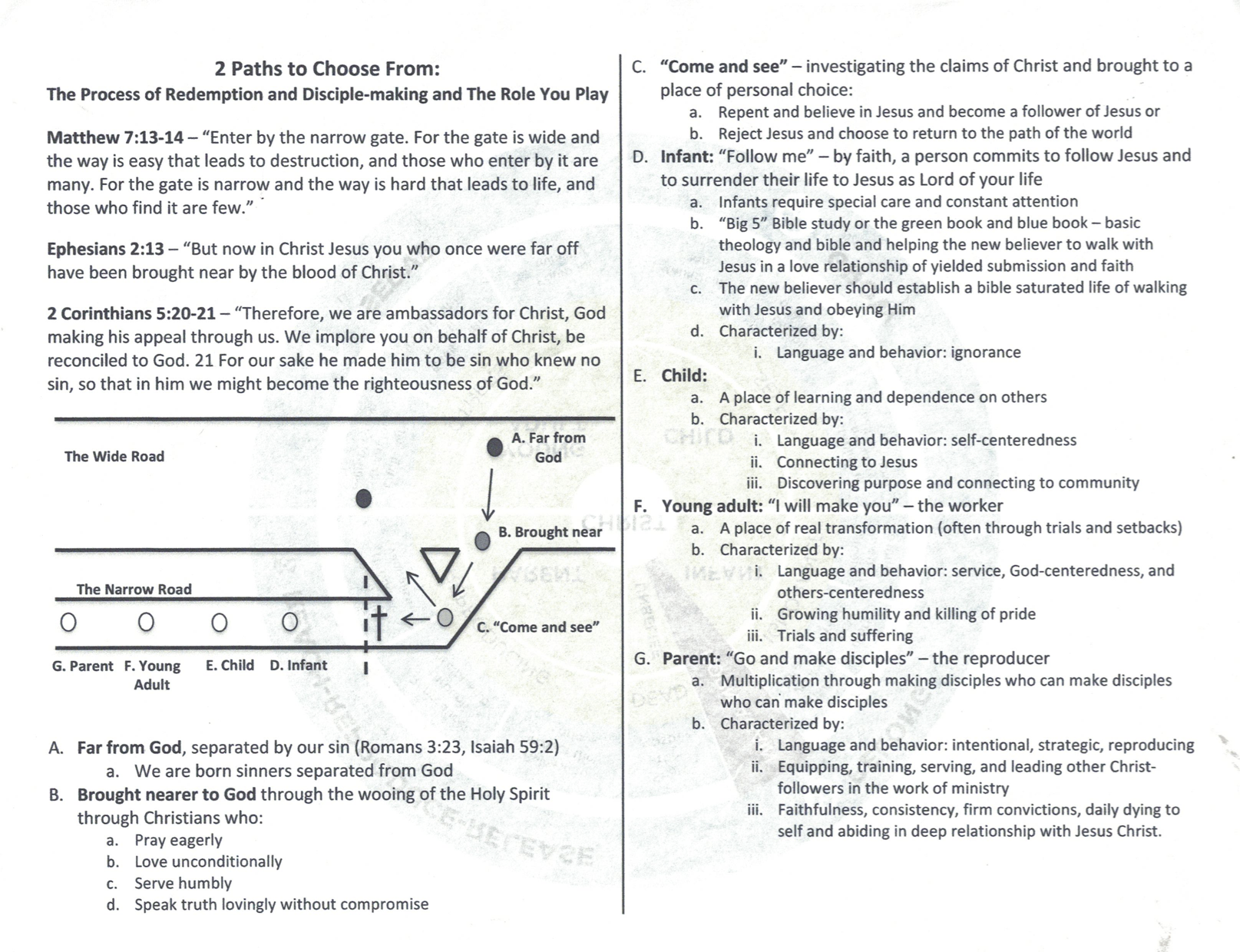2 Paths Discipleship Process page 1