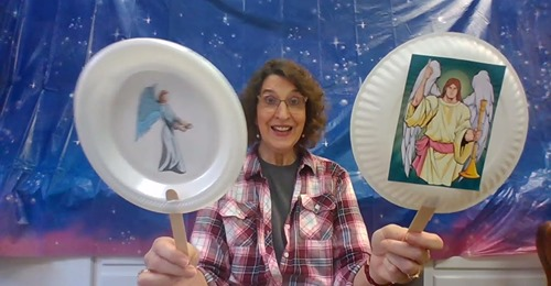 angel puppets with Mrs. Ann