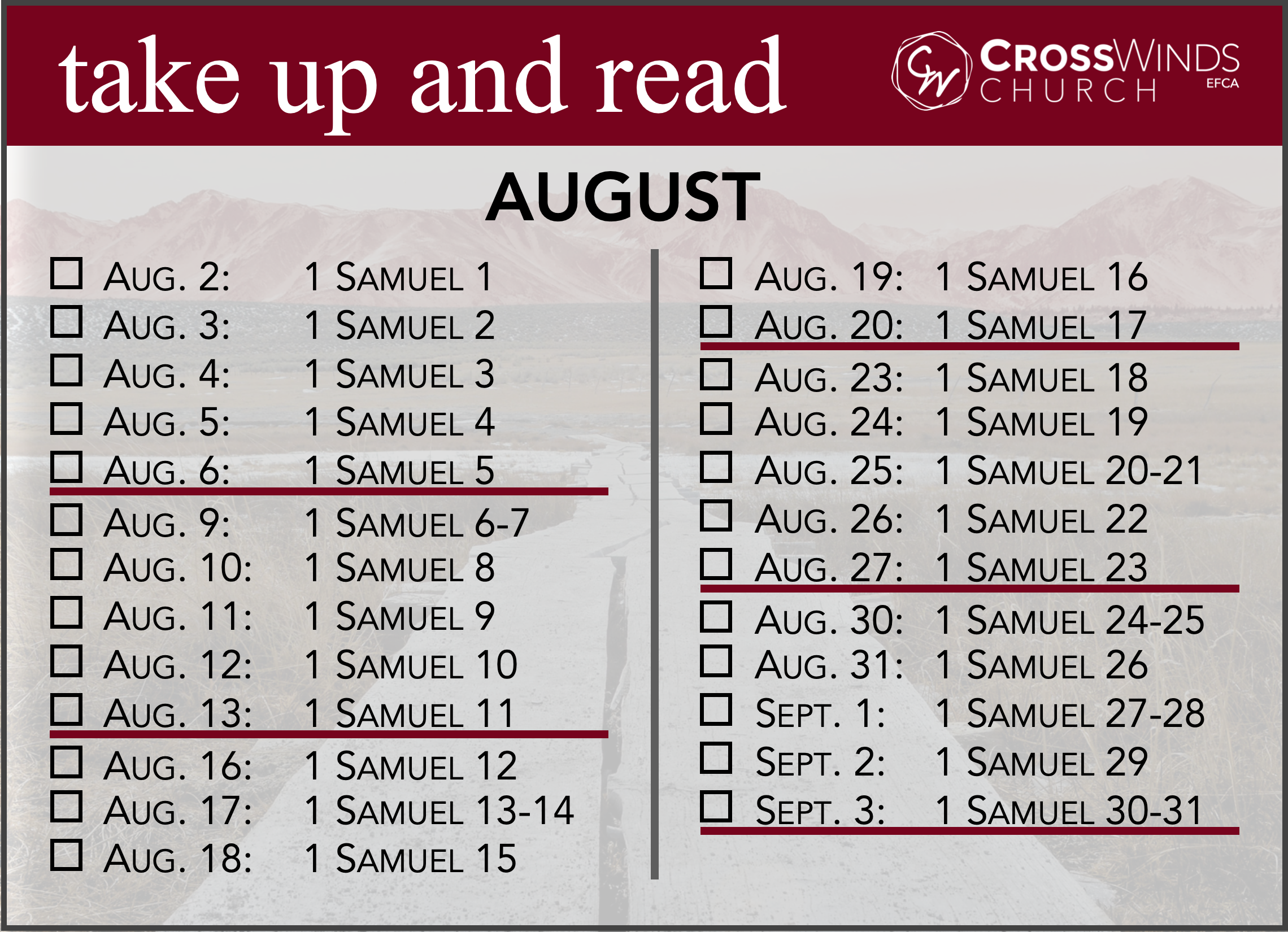 2021 Take Up and Read - August