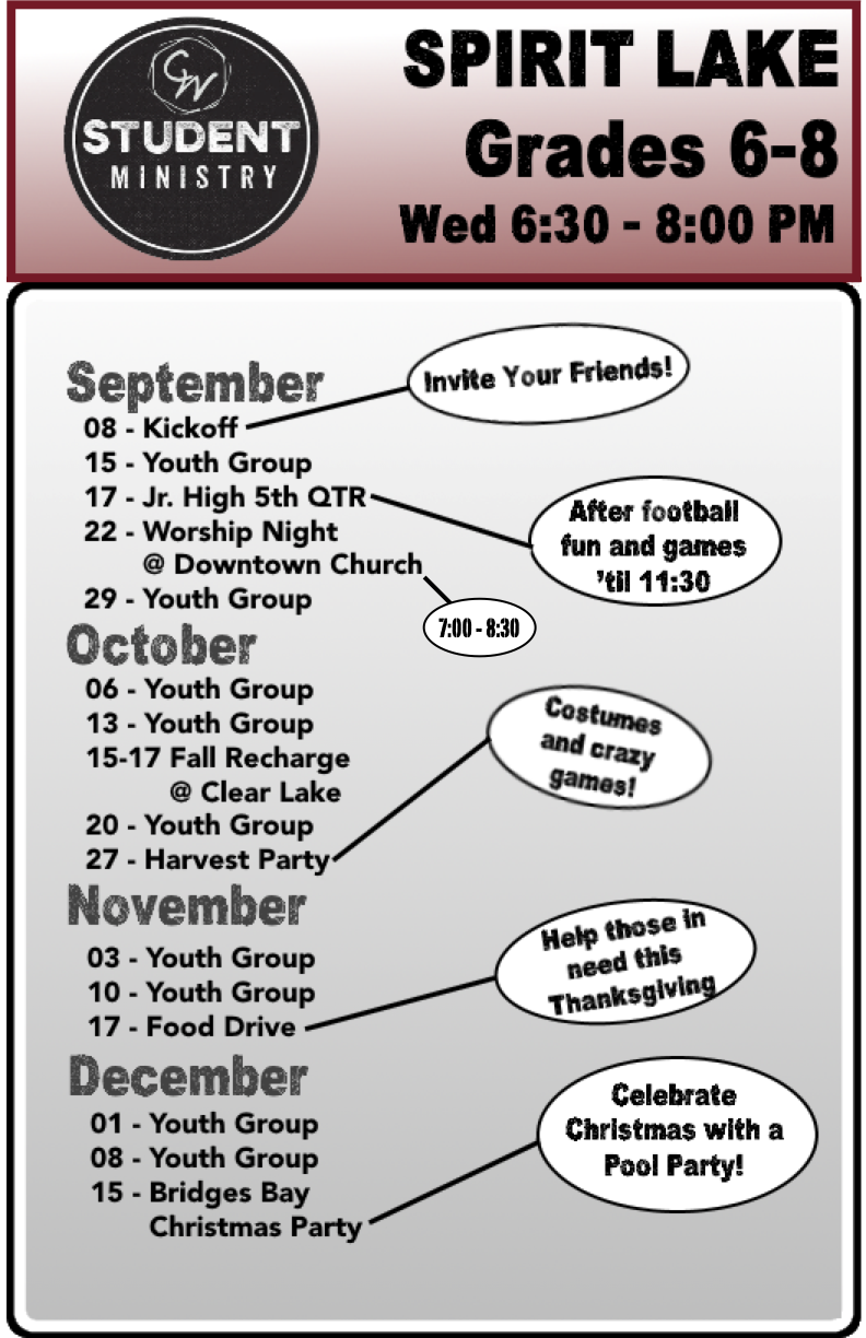 Fall 2021 Student Ministry Flyer - Jr. High