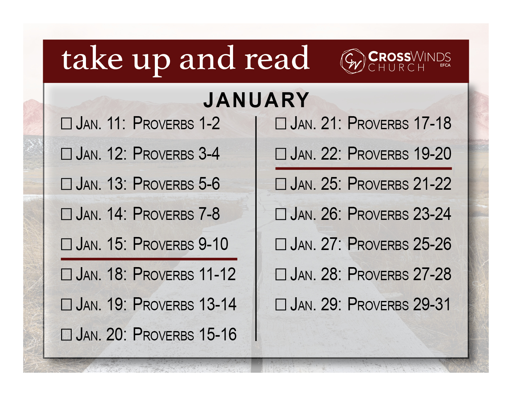 Take Up and Read 2021-Card-January