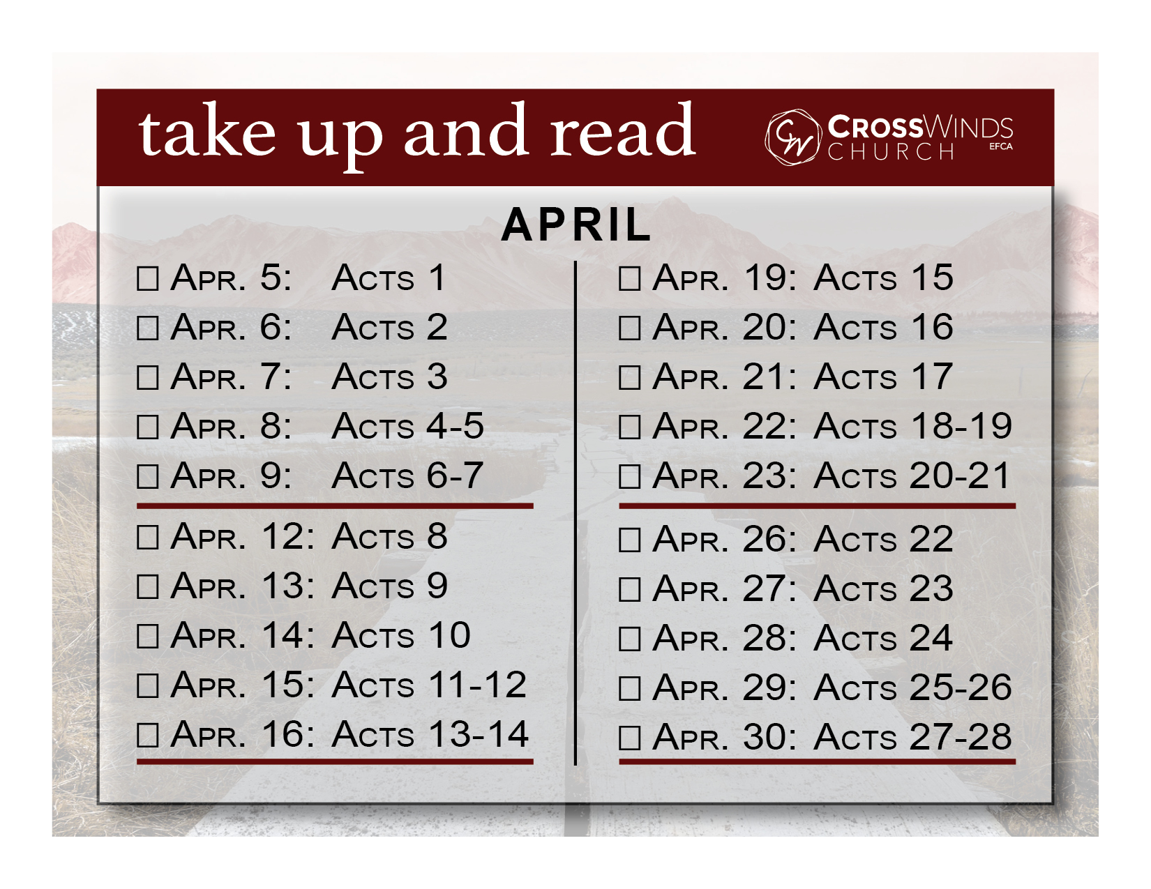take up and read card april 2021, Acts