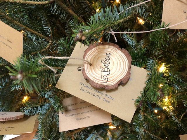 Believe ornament gift card tree