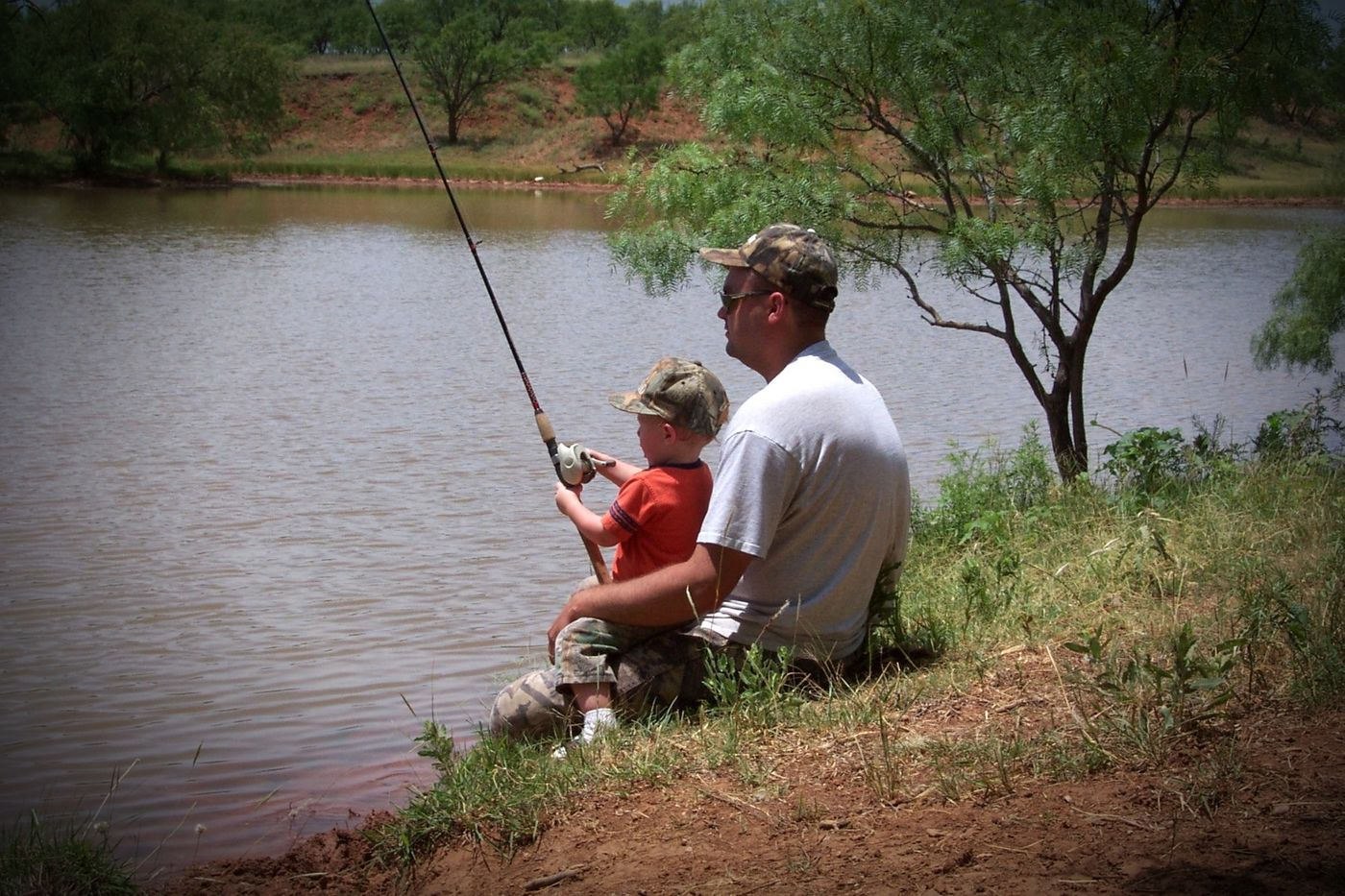 father-and-son-fishing vignette