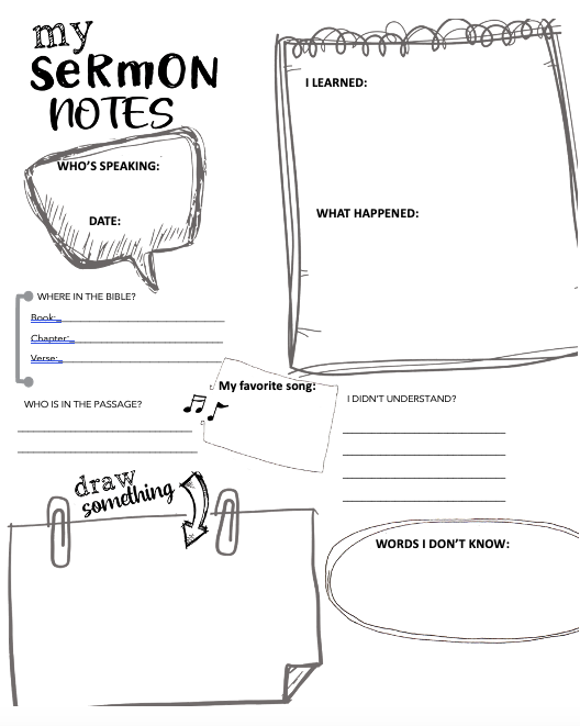 Sermon Notes for Kids Picture
