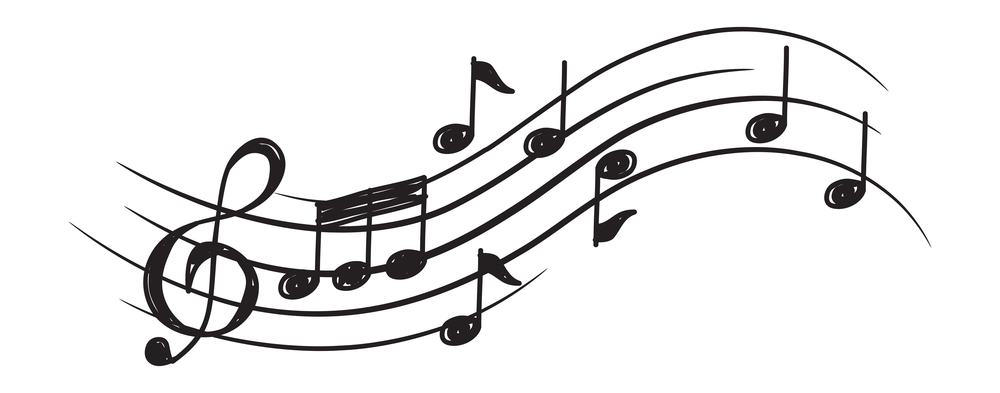 musical notes clef curve