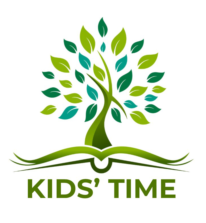 tree book kids' time text logo
