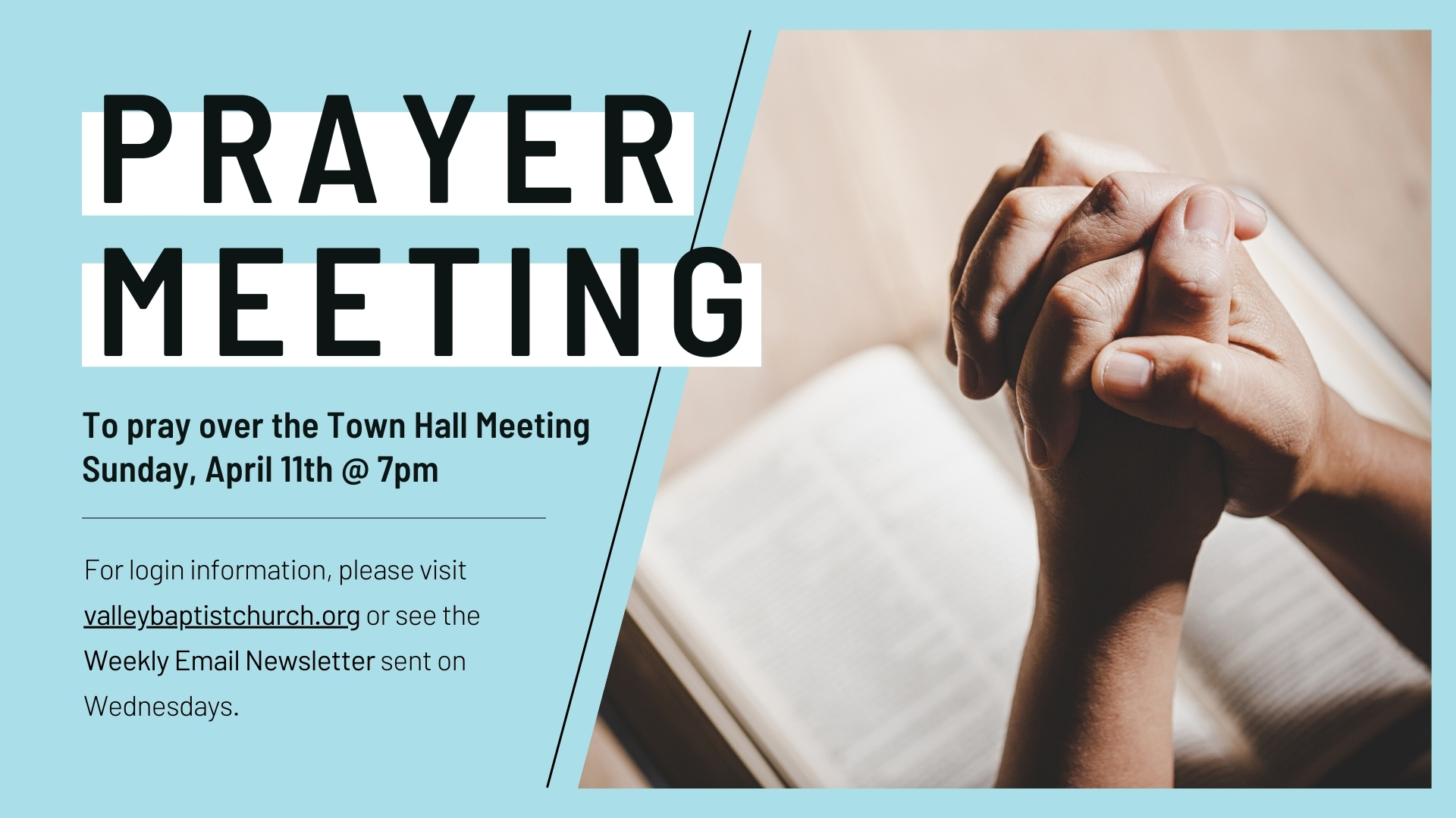 Prayer Over the Town Hall Meeting image
