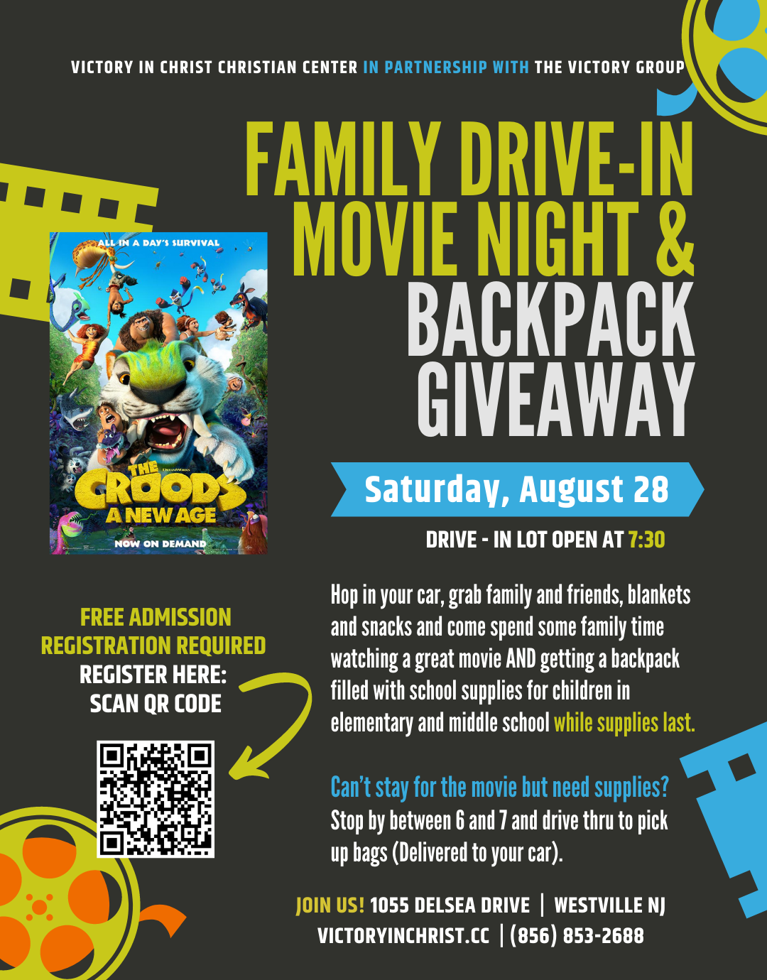 Community Family Drive in Movie Night & Back Pack Give-A-Way