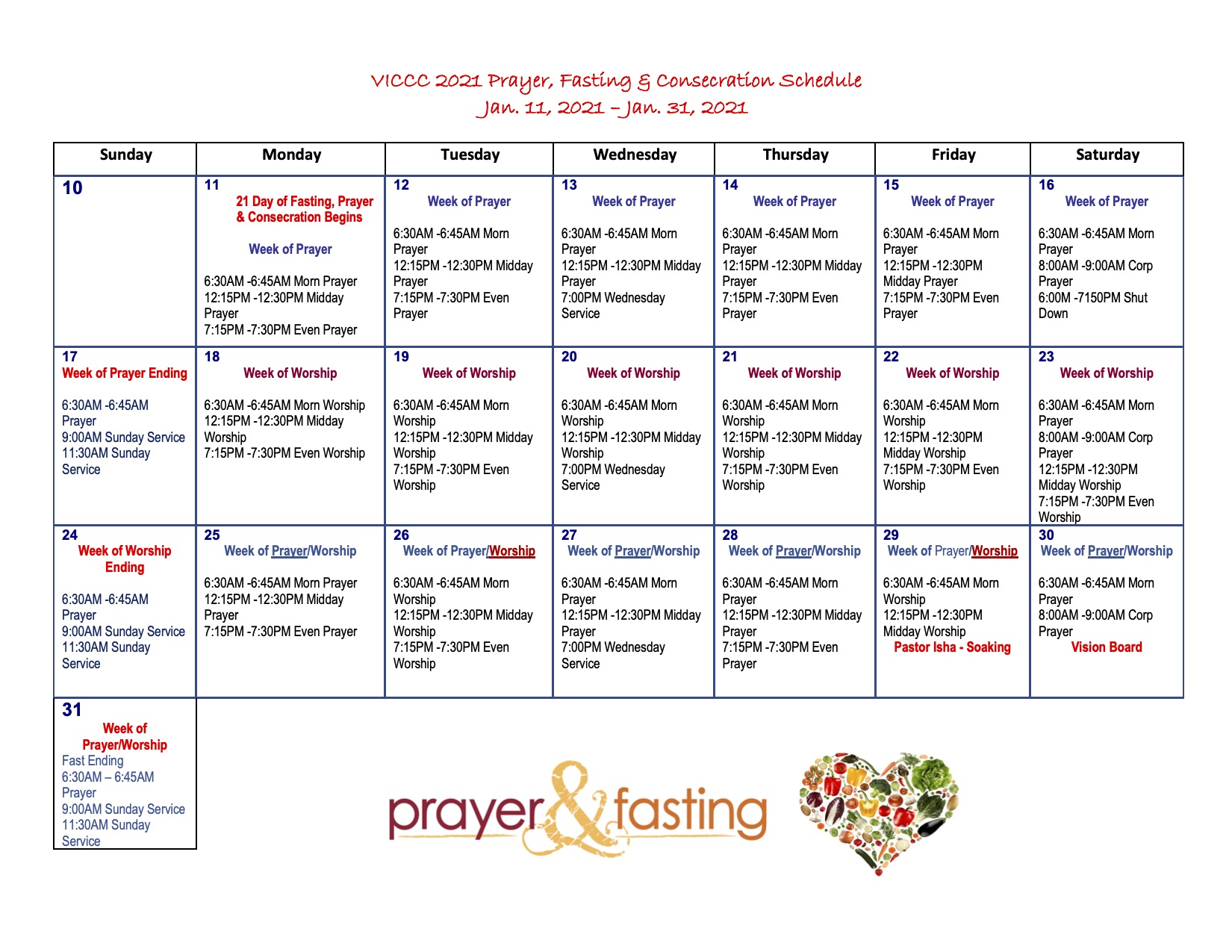 VICCC 2021 Prayer Fasting Consecration Schedule 1-11
