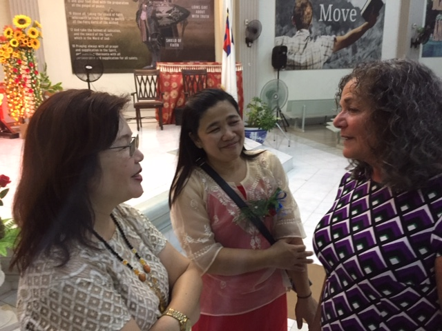 Philippines Andrea talking with two pastors wives, Mayette and Benita.JPG