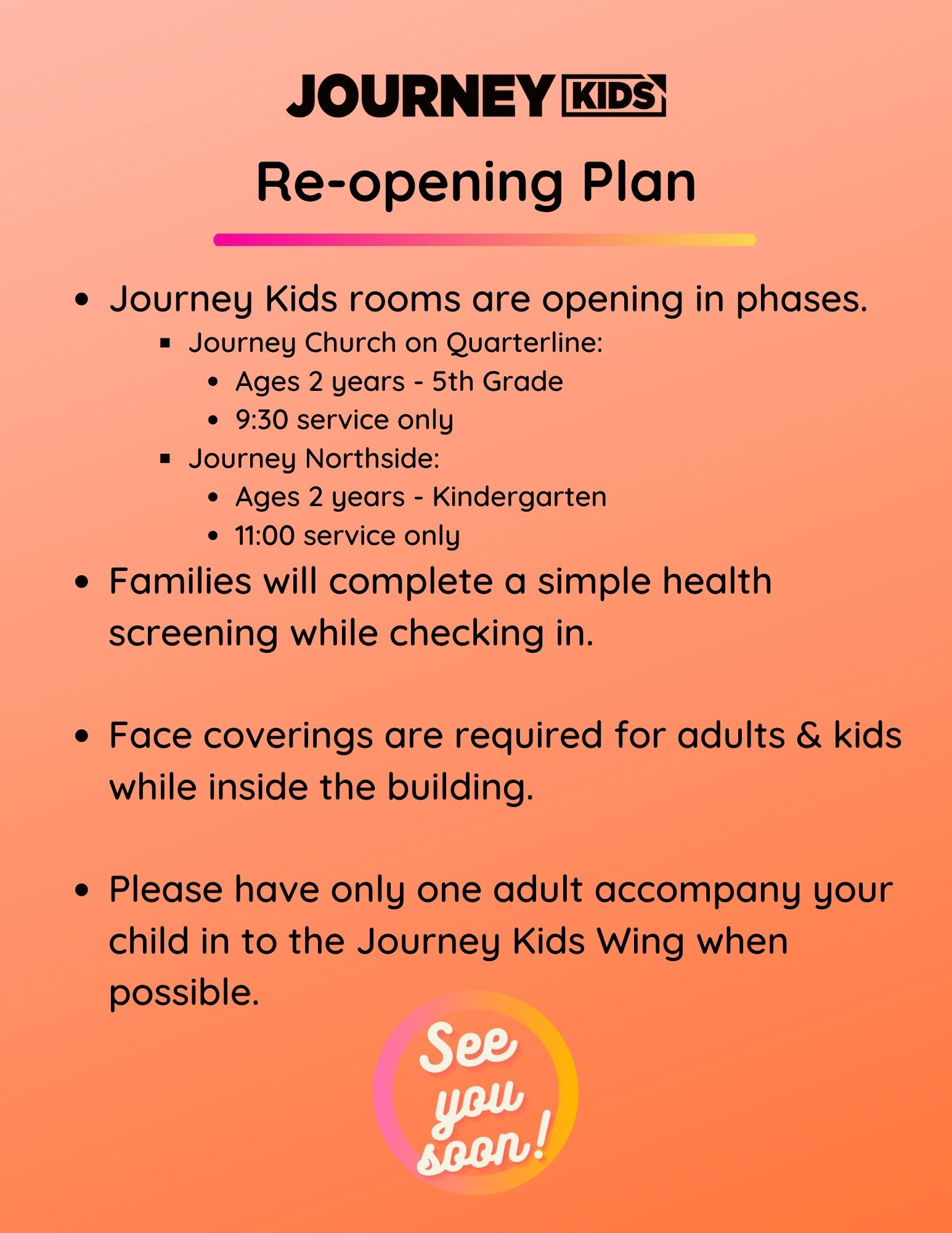 Journey Kids Reopening Plan, Phase 2
