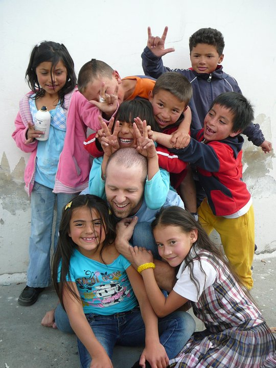 Clayton and kids in Bogota